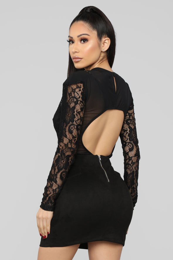 Black Lace Sexy Long Sleeve Bodysuit