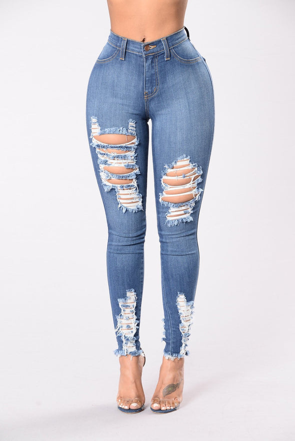 Blue Washing Out Ripped Jeans