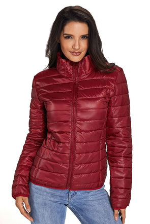 Wine High Neck Quilted Cotton Jacket