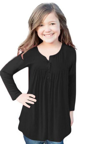Black Long Sleeve Button Detail Pleated Little Girls Top