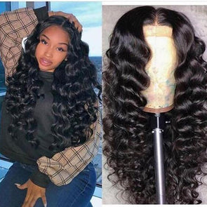Lace Front Wig Deep Wave Human Hair Blend Wig Old Hollywood Curly Wig