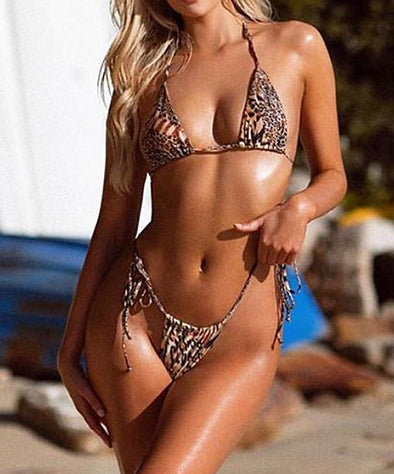 Two-Piece Leopard Print G-String Bikini