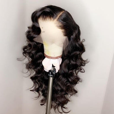 High quality lace front wig black long wave wig natural hairline29