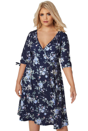 Navy 3/4 Length Tie Sleeves Floral Jersey Wrap Dress
