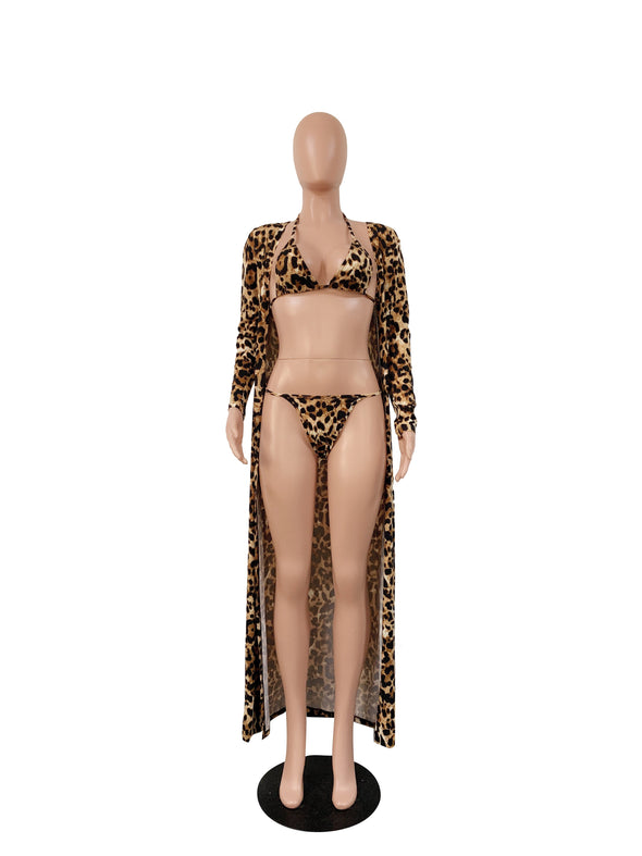 Two-Piece Leopard Swimwear and Cover Ups
