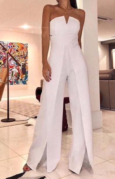 White Sleeveless Wide Leg Jumpsuit