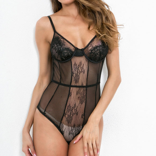 Sexy Lace Straps Teddy Lingerie