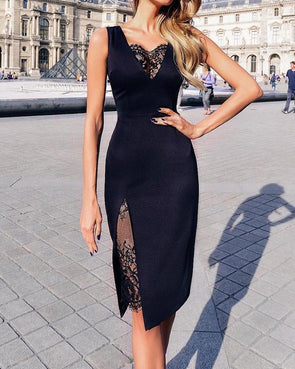 Black Sleeveless V-neck Dress with Side Split