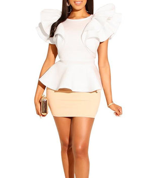 Short Sleeves Ruffles Top and Mini Skirt