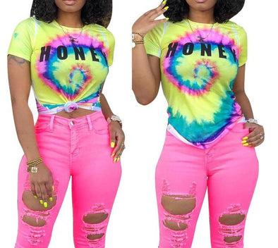 Print Colorful Basic Shirt with Short Sleeves