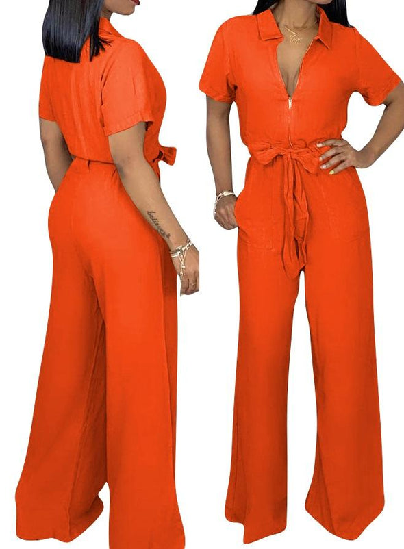 Short Sleeve Polo Neck Wide Leg Jumpsuit with Zipper