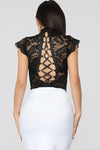 Sexy Lace Bodysuit with Ruffle Cuff