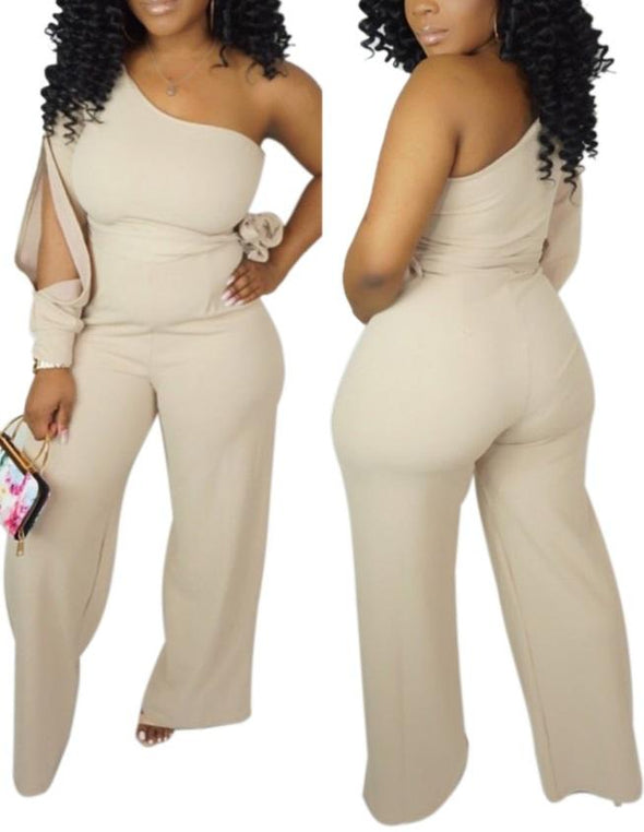 One Shoulder Plain Jumpsuit with Ripped Sleeve