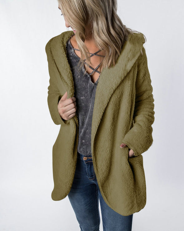 Short Plush Hoody Coat with Pockets