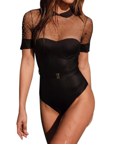 Sexy Black Beaded Bodysuit