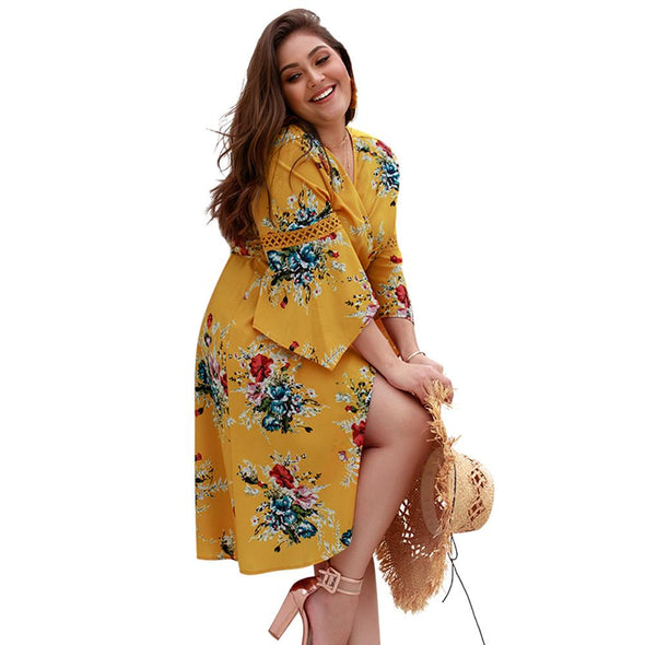 Plus Size Print Dot Short Sleeve Casual Wrap Dress