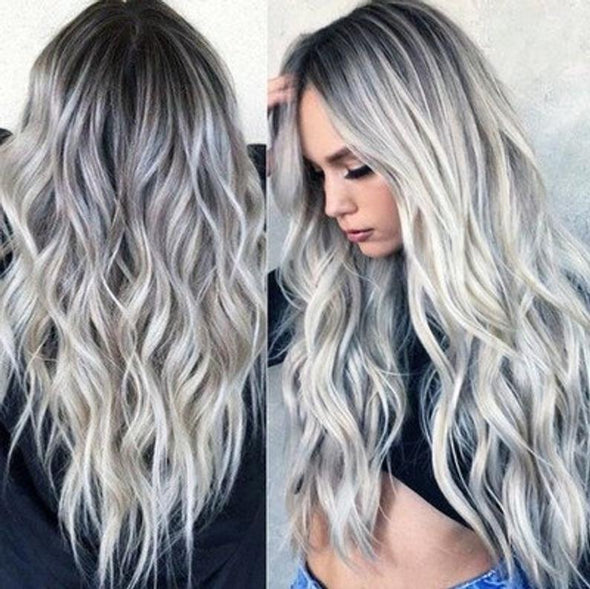 Mixed Gray Wigs With Lace Front