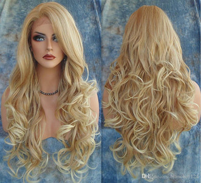Lace Front Wig Hot Long Wavy Wigs 2016 Fashion Costume Hair Wigs Charming Curly Blonde Wigs