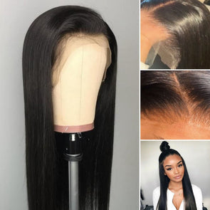 Human Lace Hair Wigs Straight Brazilian Human Hair  Lace Frontal Wig Virgin Hair Pre Plucked