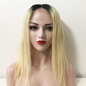 Human Lace Wigs Women Lace Front Real Human Brazilian Hair Ombre Dark Root Blonde Middle Part Straight Hair Wig 14inches
