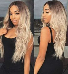 Ash Blonde Wig With Bangs