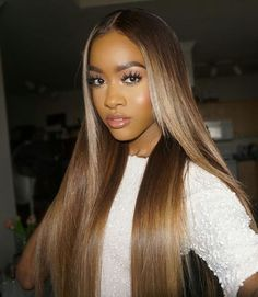Lace Front Wig Long Brown Color Human Hair Wigs For Women shebelt Long Straight With Natural Hairline Middle Part