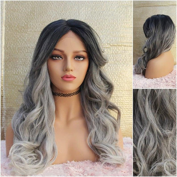 Long Gray Lace Front Wig, Black Roots Ombre to Silver/Gray, Heat Safe, Cosplay or Everyday Use