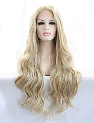Lace Front Wig Long Wavy Blonde Wig