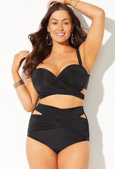Eye Catching Black Large Size Two Piece Beachwear Mesh Women