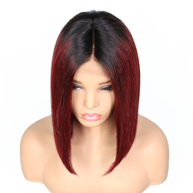 Red Wine Straight Wig Deep Side Part Bob Wig 13X6 Lace Frontal Wig