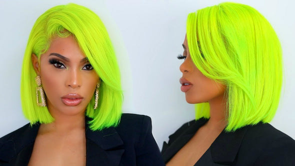Green Straight Wig Deep Side Part Bob Wig 13X6 Lace Frontal Wig