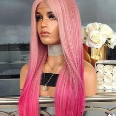 lost in translation pink wig pink bob lace wig  neon pink lace front wig light pink cosplay wig