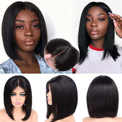 Black Straight Short Bob Wig Lace Front Human Hair Wigs With Baby Hair