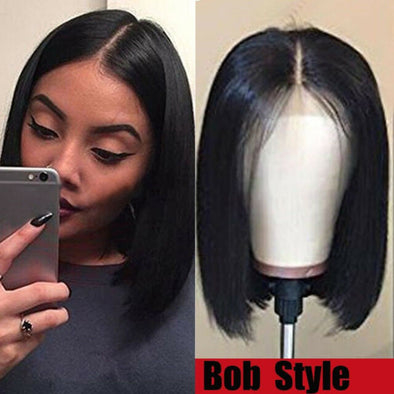 Black Straight Hair Bob Wigs Body Wave Short Human Hair Wigs Lace Front Wigs