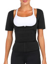 Body Shaper Stretch Black Short Sleeves Neoprene Plus Size Shaping Comfort
