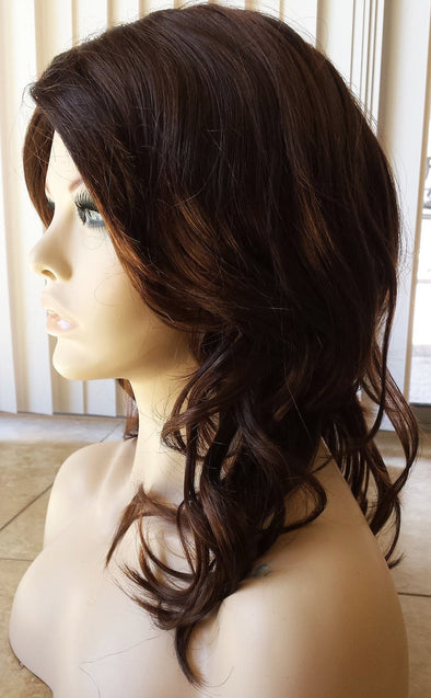 Girl Wig Brunette Brown & Auburn Natural Hair Layered, Long Wavy Wig with Bangs
