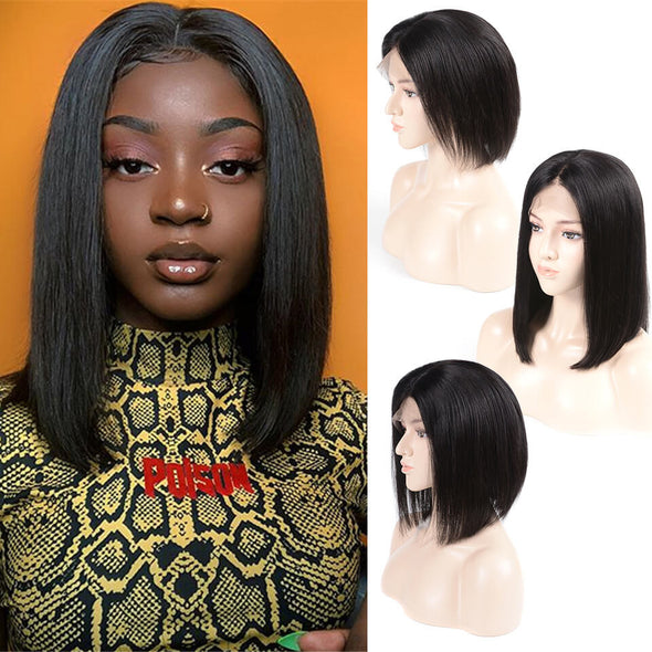 Curly Lace Front Wigs Bob Short Hair Black Straight Hair Human Hair Wigs