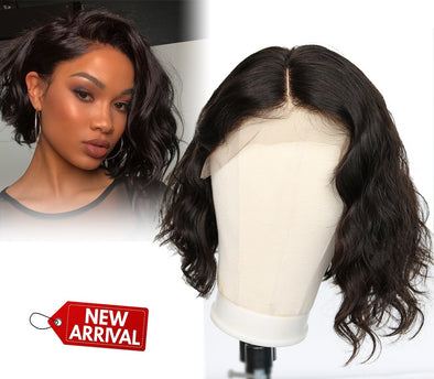 Black Short Hair Bob Wave Wig Human Hair Lace Front Wigs For Women Natural Wig