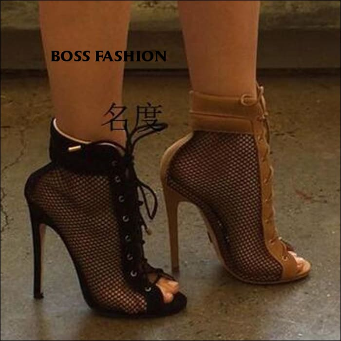 998f4ad486c New Fashion Women Open Toe Lace-up Mesh Ankle Gladiator Boots Brown Black  High Heel Short Boots Sexy Dress Shoes