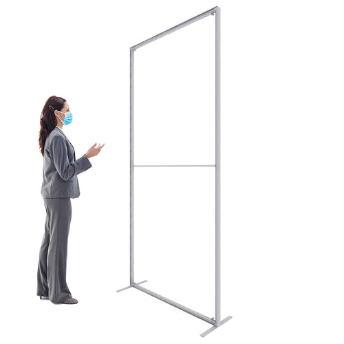 3.3' W X 7.5' H C-WALL Sneeze Guard Divider - - Clear/Printed Separation Partition