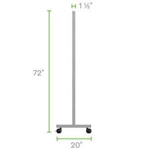"36""W x 72""H Floor Standing Steel Frame Plexiglass Sneeze Guard With Caster Wheels"