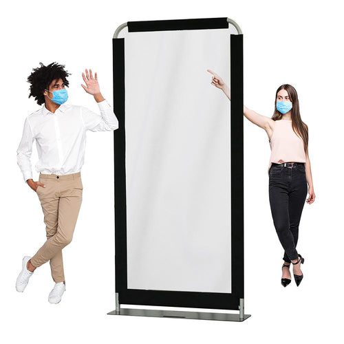 Clear Vinyl Safety Barrier - Floor Standing Aluminum Sneeze Guard Divider