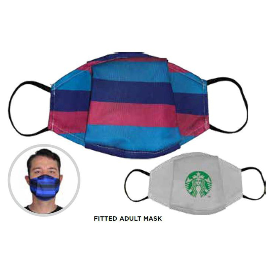 Fitted/Pleated Printed Face Masks - 3-Pack