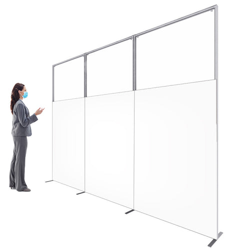 10' W X 7.5' H C-WALL Sneeze Guard Divider - Clear/Printed Separation Partition