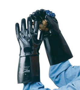 Ansell Size 10 Black Neox® Fleece/Jersey Lined Neoprene Chemical Resistant Gloves