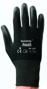 Ansell SensiLite™ Light Weight Polyurethane Work Gloves With Black Nylon Liner And Elastic Cuff