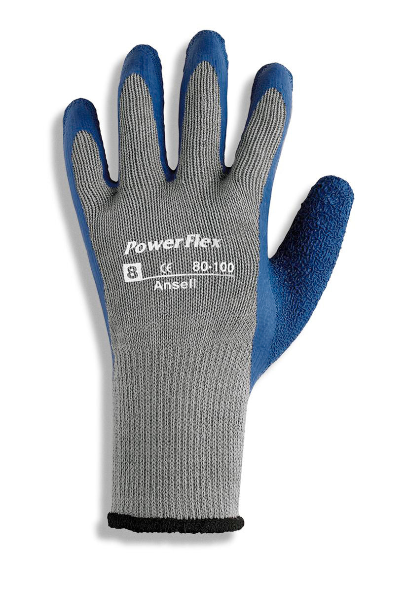 Ansell PowerFlex® Heavy Weight Latex And Natural Rubber Work Gloves With Blue And Gray Cotton And Knit And Polyester Liner And Knit Wrist