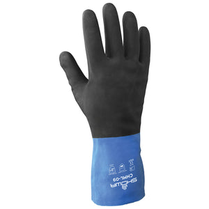 SHOWA® Black And Blue Cotton Flock Lined 26 mil Neoprene And Rubber Latex Chemical Resistant Gloves