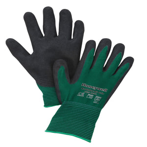 Honeywell NorthFlex Oil Grip™ NF35 13 Gauge Black MIcroFinish® Nitrile Palm And Fingertips Coated Work Gloves With Green Nylon Liner And Knit Wrist