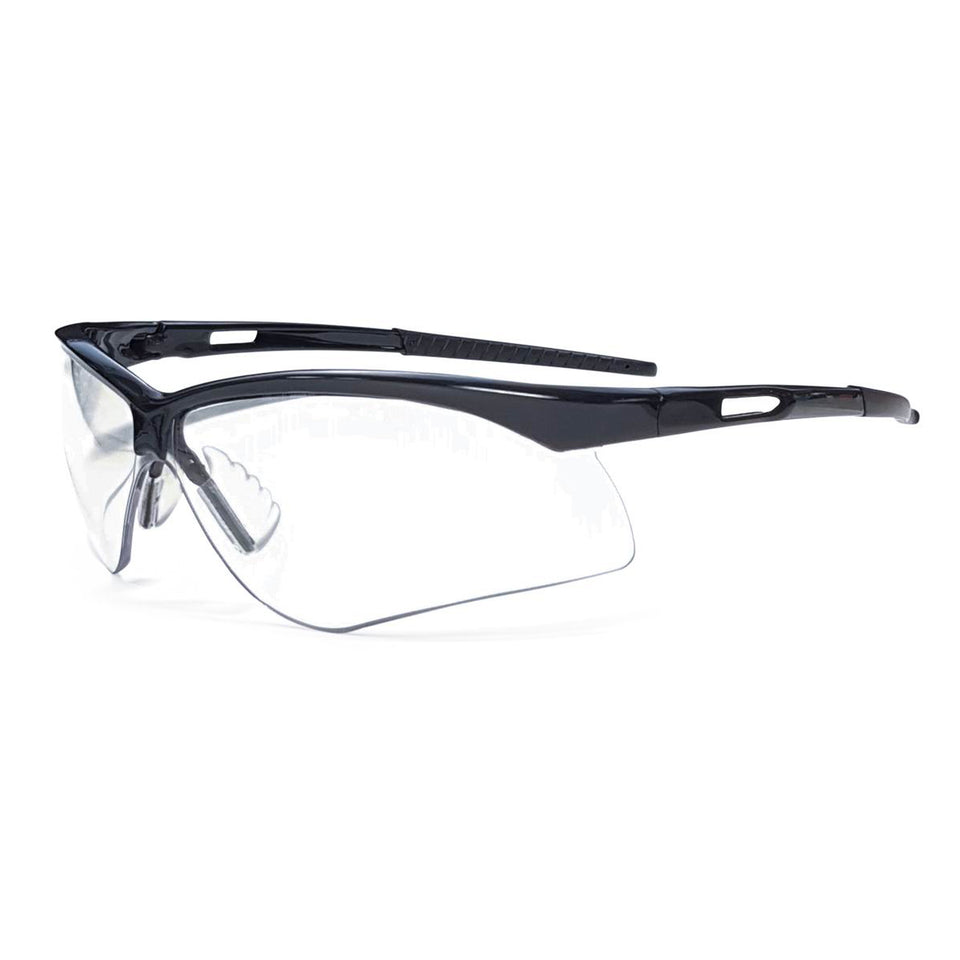 RADNOR® Premier Series Black Safety Glasses With Clear Polycarbonate Anti-Fog/Anti-Scratch Lens